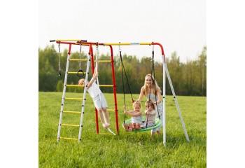 Детский спортивный комплекс для дачи ROMANA Лесная поляна - 3 качели гнездо - фото1