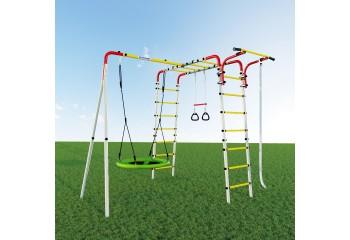 Детский спортивный комплекс для дачи Веселая лужайка - 2 качели гнездо - фото1