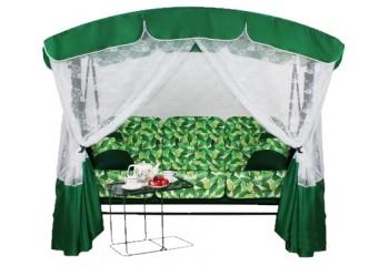 Качели садовые Элегант Премиум со столиком зеленого цвета АрноВерк - фото1