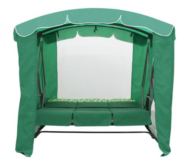 Качели садовые Рандеву Люкс Зеленые разложенные в кровать -фото2