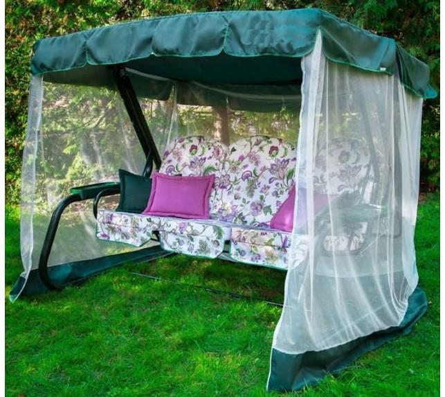"""Качели садовые """"Мастак Премиум"""" мебельная ткань зеленый каркас - фото2"""