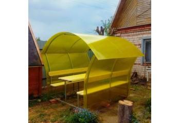 Беседка Летняя с поликарбонатом желтого цвета - фото1