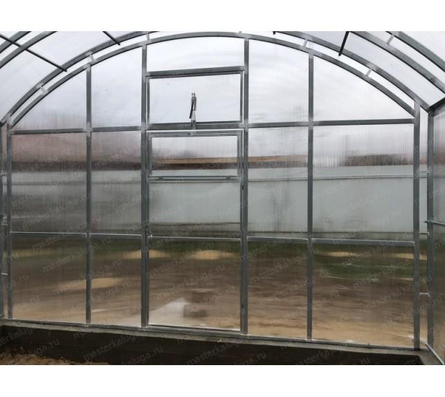 Теплица Фермерская ширина 4 м вид торцевой части с дверью - фото3