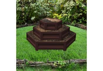 Клумба-горка с полимерным покрытием трехъярусная цвет шоколадно-коричневый высота 60 см