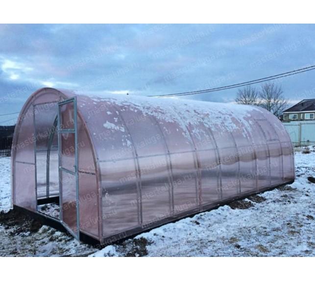 Теплица Двойная дуга с розовым поликарбонатом - фото11