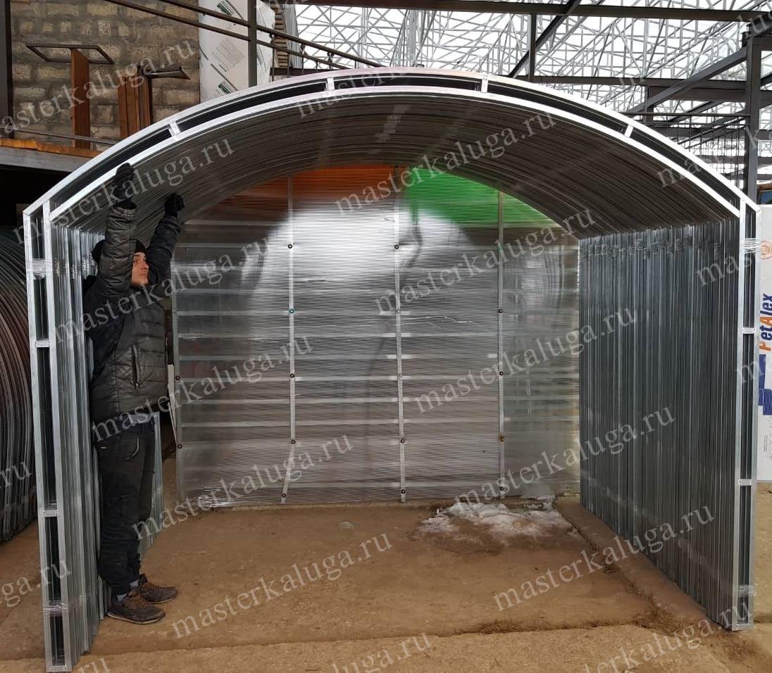 Теплица с прямыми стенками и арочной крышей Мегамикс